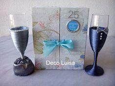 Copas personalizadas par bodas de plata con caja personalizada con dedicatoria en el interior.