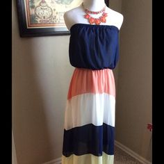 Beautiful multi color strapless maxi dress Beautiful multi color strapless maxi dress.  Perfect for the summer months and those parties, weddings or romantic evenings.  Accessories not included. Boutique Dresses Maxi