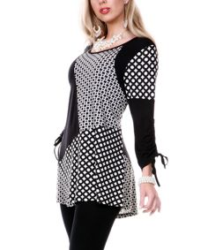Look what I found on #zulily! Lily Black & White Geometric Boatneck Tunic by Lily #zulilyfinds
