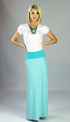 Modest Skirts: Chevron Maxi in Teal Stripes