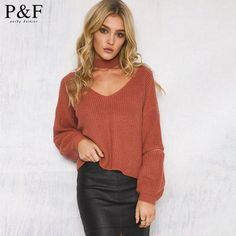 Spring Elegant Halter Knitted Sweater Women Autumn Winter Sweaters and Pullovers Slim V Neck Jumper Casual Designer sweaters
