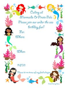 Mermaid party invitation free printable lets party pinterest displaying invitation v2g stopboris Gallery
