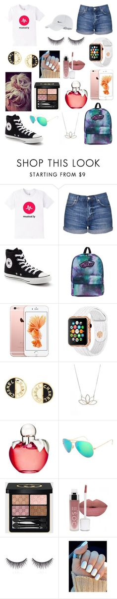 """musical.ly outfit (my musical.ly is) = aleena_hills so go follow me!!!"" by aleena101 ❤️ liked on Polyvore featuring Topshop, Converse, Vans, Chanel, Nashelle, Nina Ricci, Ray-Ban, Gucci, shu uemura and NIKE"