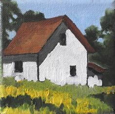 """Miniature Impressionist Farm House Painting 4x4"" - lynne french"