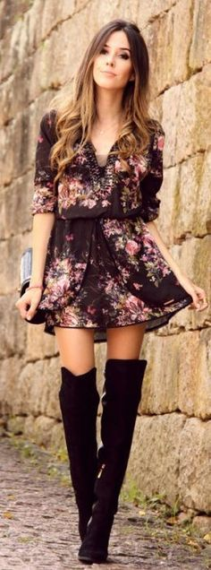 What a gorgeous dress and thigh boots outfit. This is cute fall fashion. I need those boots!