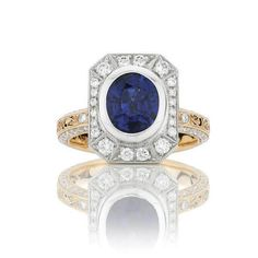Sapphire and diamond engagement ring-Victoria Buckley Jewellery