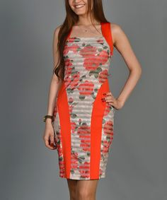 Another great find on #zulily! Coral Sheer-Stripe Floral Cutout Dress by Duse #zulilyfinds