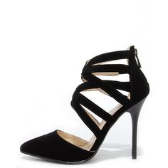 Anne Michelle Spiral 30 Black Suede Caged High Heels ($39) ❤ liked on Polyvore featuring shoes, pumps, heels, black, suede pointed toe pumps, mid-heel pumps, heels & pumps, black pointy-toe pumps and high heels stilettos