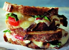Three Cheese and Tomato Panini Recipe with Fresh Basil and Garlic Spread