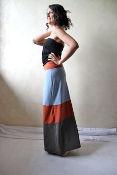 Long patchwork skirt  stretch jersey long skirt  color by LoreTree, €60.00