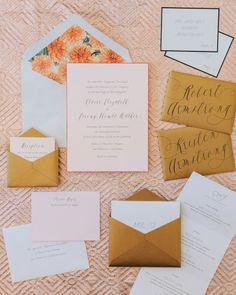 Peach and gold invitations: http://www.stylemepretty.com/little-black-book-blog/2015/04/22/peach-rustic-boho-wedding-inspiration/ | Photography: Maraluce - http://www.maraluce.com/