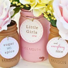 Baby Shower Decorations - Baby Shower Decor - PINK AND BROWN - Sugar & Spice and Everything Nice - Baby Girl, Mason Jar Centerpiece