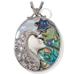 """Sajen Silver by Marianna and Richard Jacobs Goddess """"Moon and Star"""" Sterling Silver Pendant"""