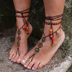 Fire Mandala Barefoot Sandals - Foot Jewelry - Hippie Sole less Sandals - Toe Anklet Beaded Crochet Barefoot Tribal Sandals