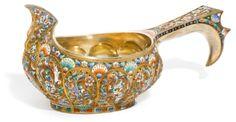 silver-gilt and cloisonné enamel kovsh, 6th Artel, Moscow, 1908-1917