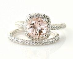 Platinum Morganite Wedding Set Diamond Halo Morganite Engagement Ring Custom Bridal Jewelry