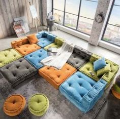 Stylish 39 Lovely Living Room Sofa Design Ideas For Cozy Home To Try Floor Cushion Couch, Kids Floor Cushions, Big Cushions, Big Pillows, Floor Pillows, Decorative Throw Pillows, Big Living Rooms, Living Room Sofa Design, Living Room Flooring