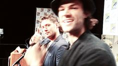 Jensen and Jared #SDCC2014 ...love you Jared, but I hate that hat.