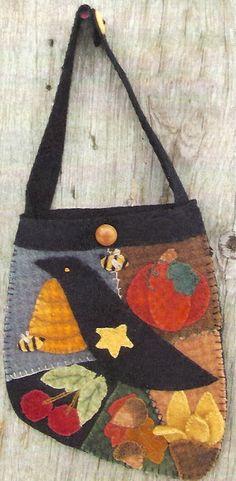Free Primitive Crow Pattern   Primitive Folk Art Wool Applique Pattern: CROW'S in the GARDEN - 2 ...