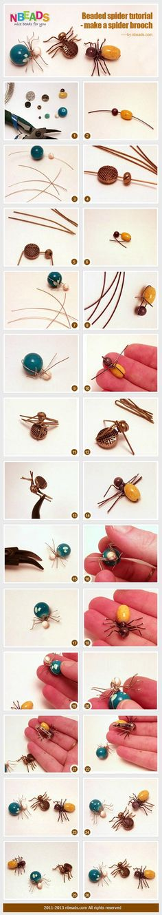 bead crafts : Beaded Spider Tutorial - Make A Spider Brooch â?? Nbeads