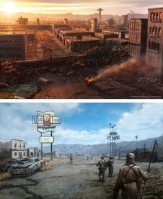 Fallout New Vegas Concept Art Fallout Concept Art, Game Concept Art, Fallout Game, Fallout New Vegas, Vault Dweller, Post Apocalyptic Art, Apocalypse Art, End Of The World, Abandoned Places