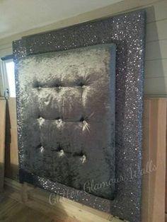 Sparkly Glitter and Velvet Diamond Studded Headboard Dream Bedroom, Home Bedroom, Bedroom Decor, Bedrooms, Bedroom Ideas, Glitter Furniture, Diy Furniture, Glitter Bedroom, Studded Headboard