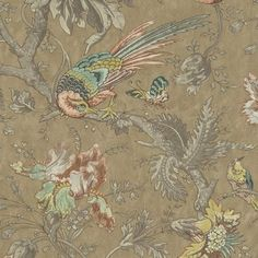 Crowe Hall Lane Wallpaper An intricate wallpaper featuring colourful butterflies, flowers and birds perched on branches on a mottled gold background.
