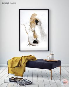Abstract Acrylic Painting Fine Art Print In Gold And Black SP No15 Datiert
