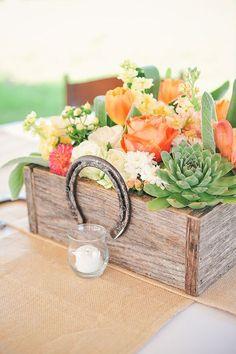 rustic succulent wooden box and horseshoe wedding centerpiece / http://www.deerpearlflowers.com/rustic-farm-wedding-horseshoe-ideas/