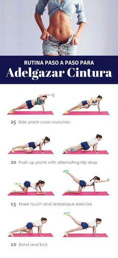 Ponte en forma con esta rutina de ejercicios para adelgazar la cintura. Más tips en nuestro artículo.   Ejercicios en casa para la cintura. #workput