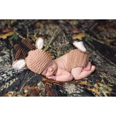 Crochet Whitetail Deer Newborn Baby Photo Prop/Diaper Cover/Beanie Hat... ($35) ❤ liked on Polyvore