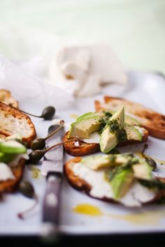 Goat's Cheese Crostini with Salsa Verde Drizzle | Crush Magazine