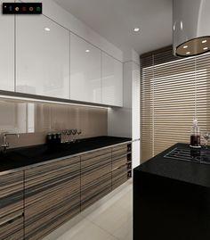 white / gray beige zebrano  modern kitchen