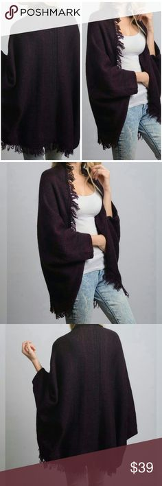 """✨ Fringe Tassel Open Poncho Cardigan - Plum Warm and soft open front fringe tassel open poncho. Color is plum- deep purple. 100% Acrylic. One size 35"""" x 52""""   ✨ Price FIRM unless bundled.   ✨✨ Happy to answer any questions ☺  Preorder- will ship 11/8/17   Like for arrival notification! Luxe Label Accessories Scarves & Wraps"""