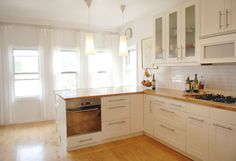 Bungalow kitchen with butcher block