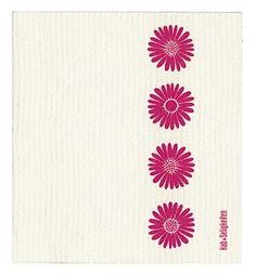 """Schwammtuch """"Margerite"""" (weiß/ pink) Das bedruckte Schwammtuch ist ein Naturprodukt und einfach in der Waschmaschine zu reinigen. Es verfärbt nicht, hat eine lange Lebensdauer und ist kompostierbar. - http://shop.hokohoko.com/"""