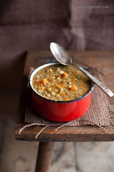Laila's Arabic Lentil Soup Recipe  serves about 2    Ingredients  1 tablespoon olive oil  1 small onion, peeled and diced finely (1/2 cup when diced)  1 medium carrot, peeled and diced (1/2 cup when diced)  1-2 cloves of garlic, peeled and chopped  ½ heaping cup dried green or brown lentils  ½ teaspoon ground cumin  Salt to taste
