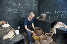 Adam Silvermans Pottery Studio click the image for more details. Clay Studio, Ceramic Studio, Ceramic Clay, Ceramic Painting, Ceramic Artists, Ceramic Pottery, Slab Pottery, Blackboard Wall, Chalkboard Paint