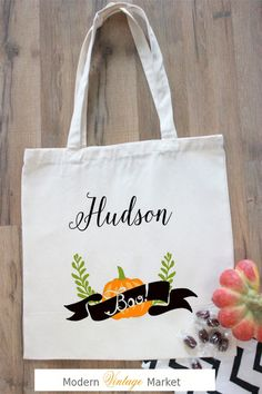 Halloween Tote bag,Personalized Halloween bag,Cotton Canvas Tote Bag,Halloween bag,Harvest Bag, Trick or Treat Bag, by Modern Vintage Market