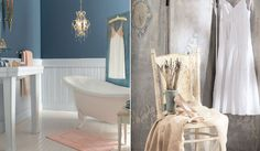 Elegant cottage bath. I like the pale soft pink paired with the bold blue.