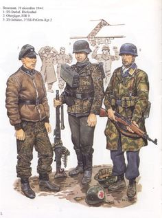 Waffen-SS officer and machine gunner together with a Fallschirmjäger during the Battle of the Bulge. Ww2 Uniforms, German Uniforms, Military Uniforms, German Soldiers Ww2, German Army, Paratrooper, Luftwaffe, Military Art, Military History