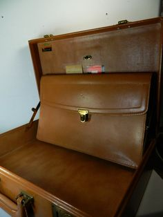 Vintage Tan Leather Briefcase Hard Body by 3sisterstreasures