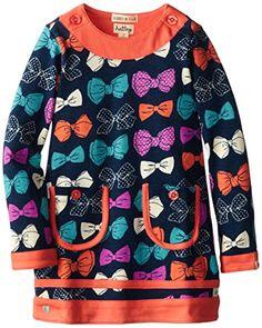 Hatley Little Girls' Button Neck Mod Dress Party Bows, Blue