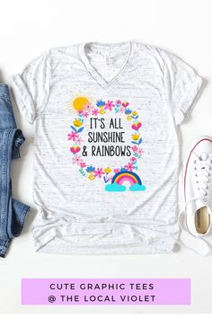 Our colorful boho graphic tee will bring a smile to your face!  #hippiestyle #hippieshirts #cutetshirts #cuteshirtswithsayings #womensgraphictees Hippie T Shirts, Hippie Tops, Hippie Style, Cute Tie Dye Shirts, Jeans And T Shirt Outfit, Cute Graphic Tees, Hippie Fashion, Hippie Outfits, Shirts With Sayings