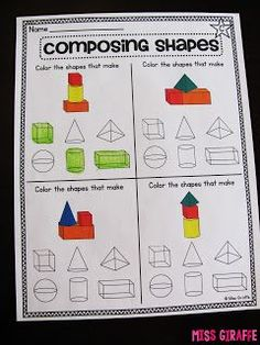 Composing shapes in grade math логопедия, геометрия, мат 3d Shapes Worksheets, Shapes Worksheet Kindergarten, Geometry Worksheets, Geometry Activities, Math Activities, 3d Shapes Activities, 1st Grade Math, Grade 1, Second Grade