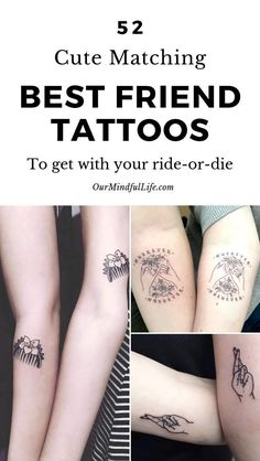 52 Adorable Matching Best Friend Tattoos To Get With Your Ride-or-die Adorable Friend Adorable 3 Best Friend Tattoos, Soul Sister Tattoos, Matching Best Friend Tattoos, Hand Tattoos, Bff Tattoos, Finger Tattoos, Ankle Tattoos, Teacher Tattoos, Disney Tattoos