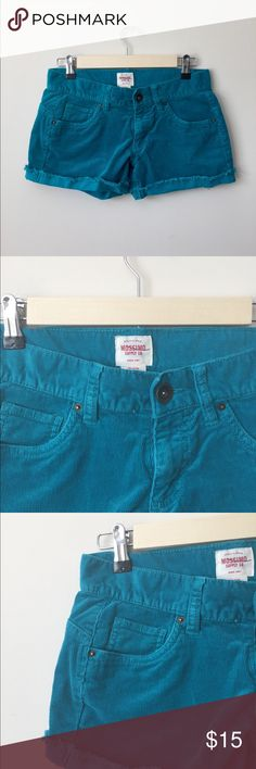 """Mossimo Shorts Mossimo Supply Co Shorts size 1 color Teal Green Girls Womens Juniors Corduroy Length~10"""" rise~7"""" Excellent condition like new Questions are welcome! Fast shipping (M-F 10 am ET) from pet free smoke-free home Mossimo Supply Co. Shorts Jean Shorts"""