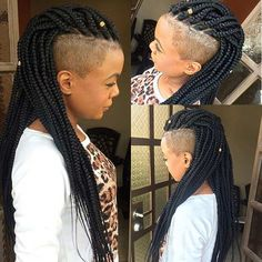 Long Box Braids with Shaved Sides