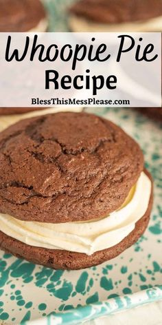 Whoopie Pies are giant bakery style chocolate cookies with a delicious, light, and fluffy icing in the center. Every bite is a party in your mouth! #cookies #cookiesandwich #chocolate #baking