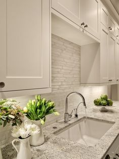 "kitchen backsplash and countertop  Like the color of the counter top.   It also has the garbage disposal ""button""!"